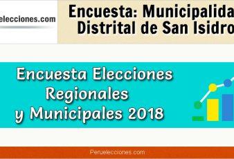 Encuesta Municipalidad Distrital de San Isidro Elecciones 2018