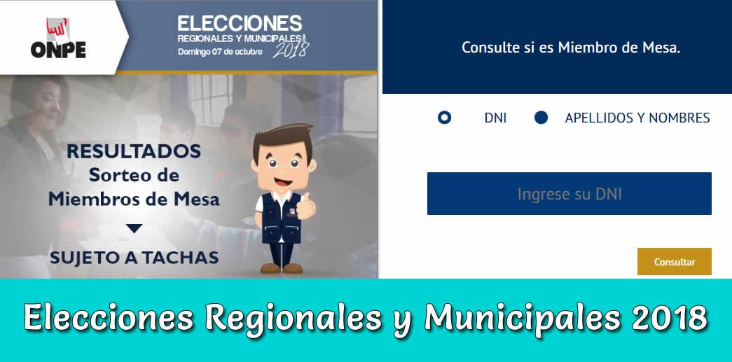 Miembros de Mesa 2018 Elecciones regionales y municipales Perú 2018