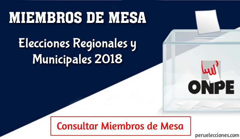 Miembros de mesa 2018 ONPE