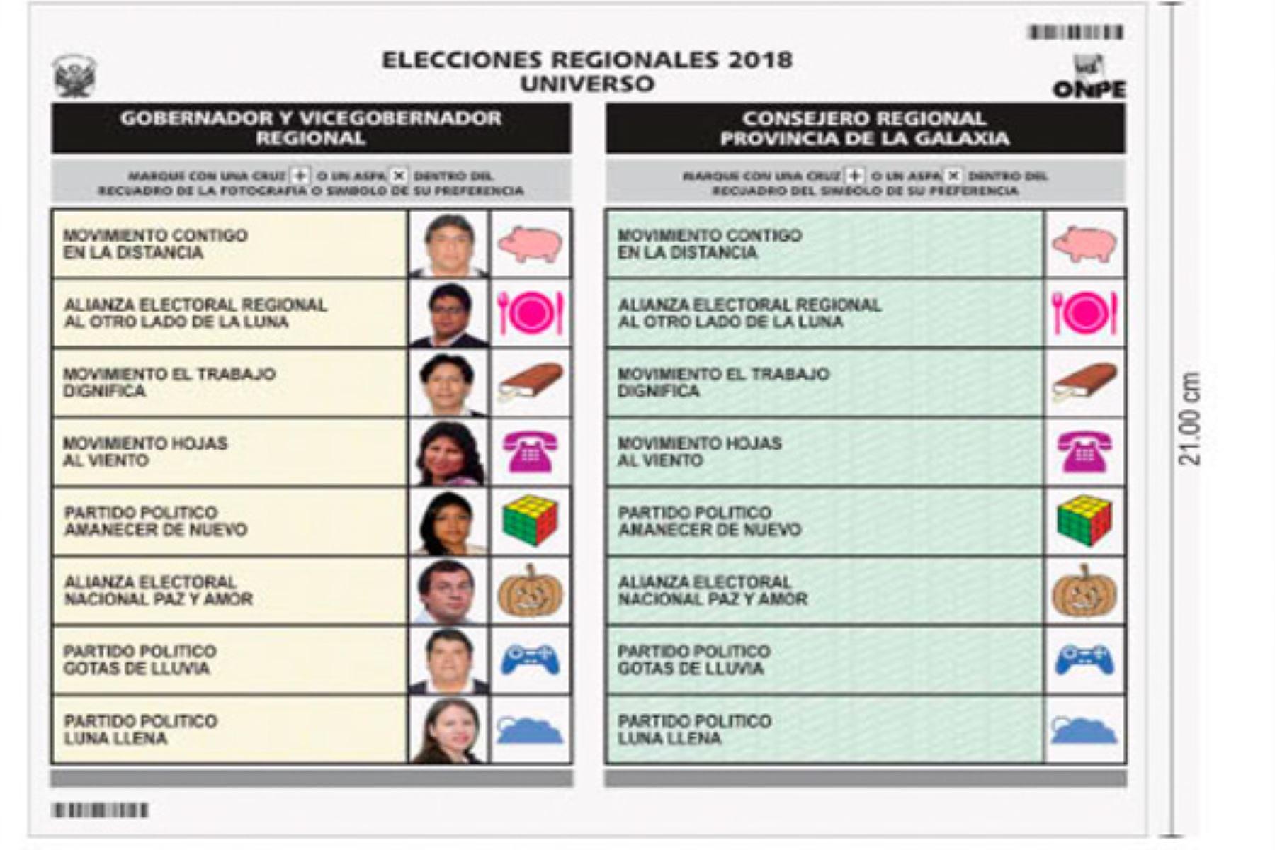 Cédula de Sufragio para Elecciones Regionales y Municipales 2018