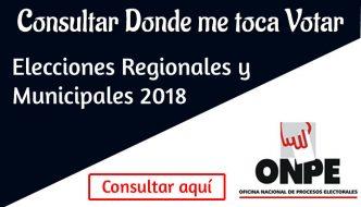 Dónde me Toca Votar ONPE 2018 – Locales y Mesa de votación