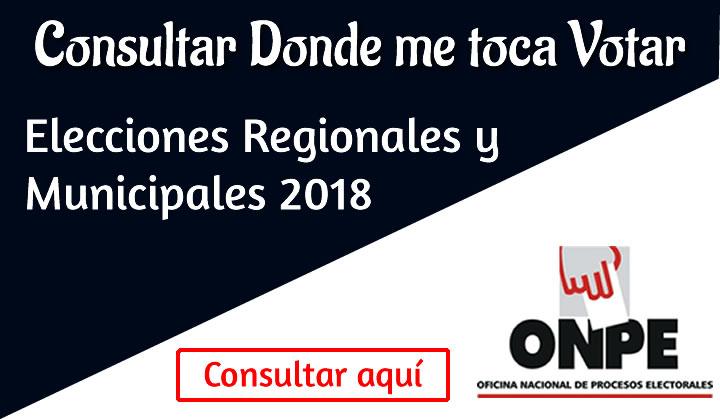 Donde me toca votar ONPE Elecciones 2018