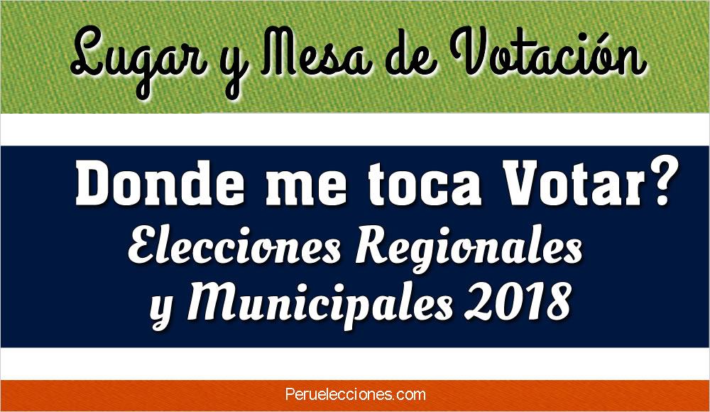 Lugar y Mesa de Votación ONPE Elecciones 2018