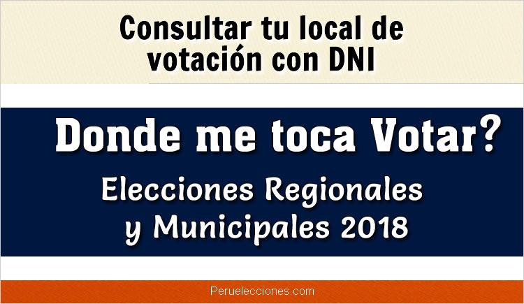 ONPE Donde me toca votar 2018 - Consultar con DNI