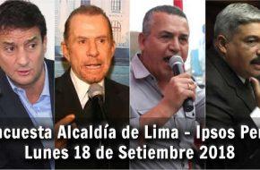 Encuesta IPSOS para Alcaldía de LIMA – Lunes 17 Setiembre 2018