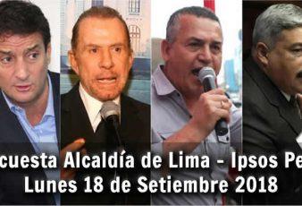 Encuesta Alcaldía de Lima Ipsos Perú - lunes 18 de Setiembre 2018