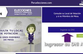 ONPE: UBICAR tu local de votación en Consultamiembrodemesa.onpe.gob.pe Elecciones Domingo 7 Octubre 2018