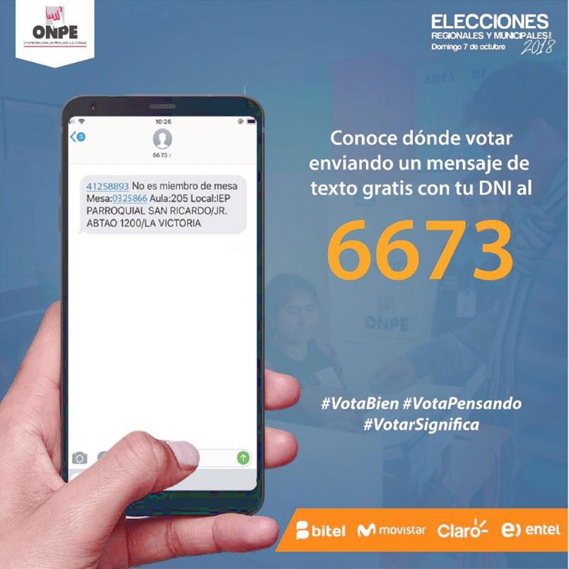 Donde me toca votar ONPE consultar por mensaje de texto