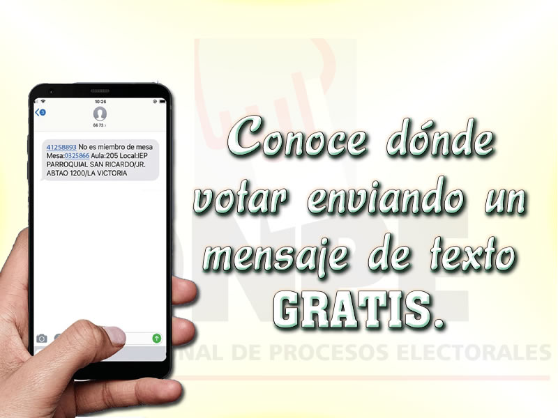 ONPE Conoce dónde votar enviando un mensaje de texto gratis