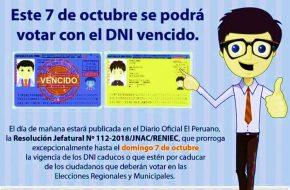 Podre votar con DNI Vencido elecciones 7 octubre 2018
