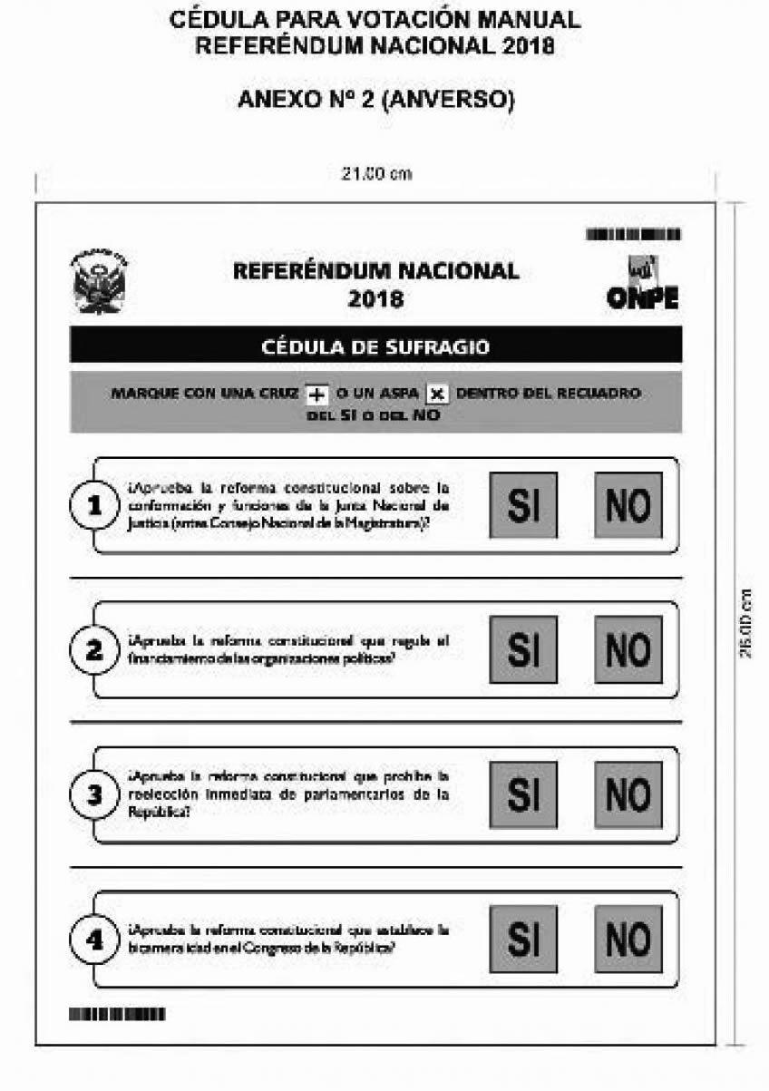 cédulas de sufragio para el Referéndum 2018