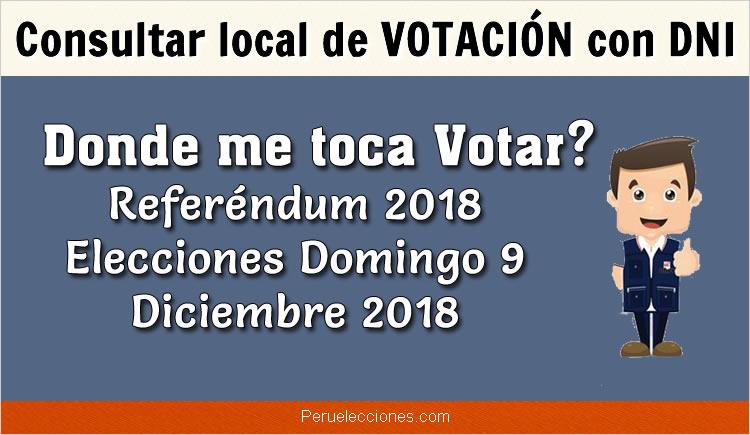 Donde me toca votar ONPE Referéndum 2018
