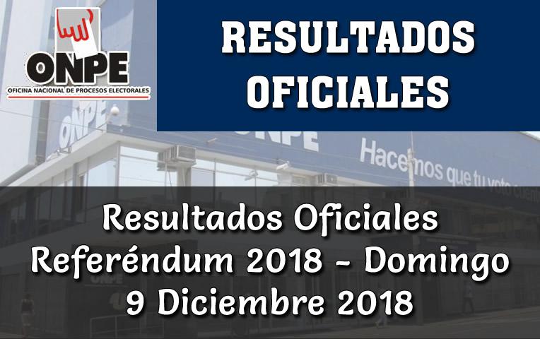 Resultados Oficiales ONPE Referéndum 2018