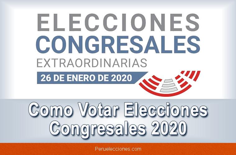 Como votar Elecciones congresales extraordinarias 2020