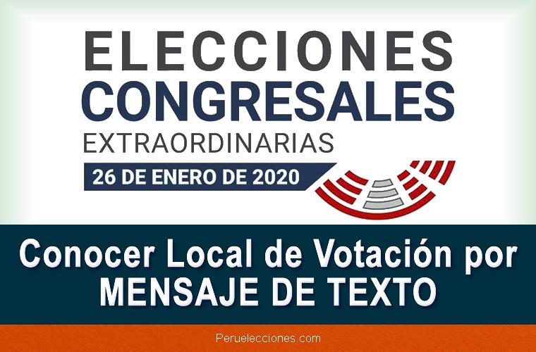 Conocer Local de Votación por MENSAJE DE TEXTO