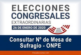 Consultar Nº de Mesa de Sufragio ONPE - Elecciones 2020