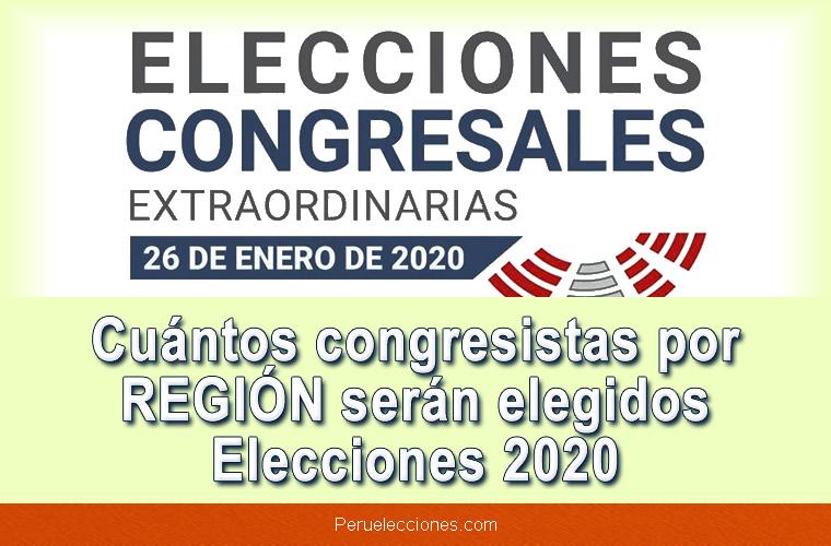 Cuántos congresistas por REGIÓN serán elegidos Elecciones 2020