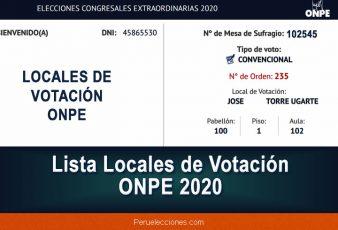 Lista Locales de Votación ONPE 2020