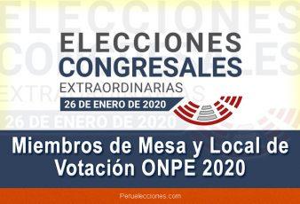 Miembros de Mesa y Local de Votación Elecciones 2020