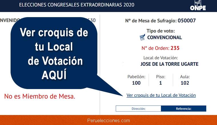 Croquis de tu Local de Votación ONPE Elecciones 2020