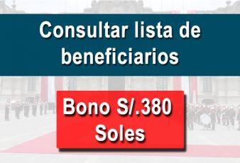 Lista de beneficiarios del BONO de 380 SOLES