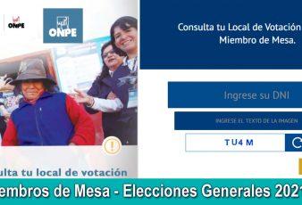 Miembros de Mesa - Elecciones Presidenciales 2021